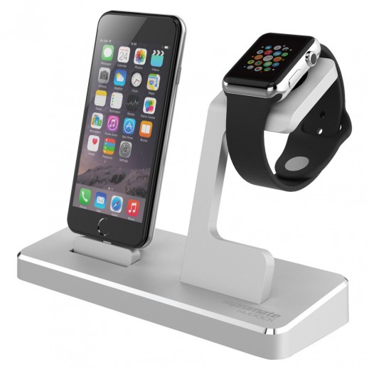 Promate NuDock Professional 3-in-1 Power Stage for Apple Watch Silver