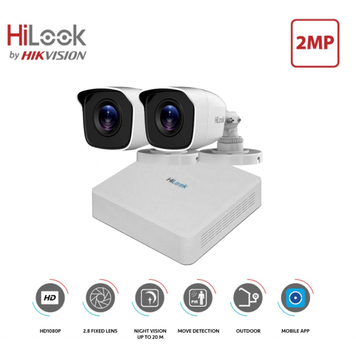 Hilook 2CH 2MP Camera Kit  - White