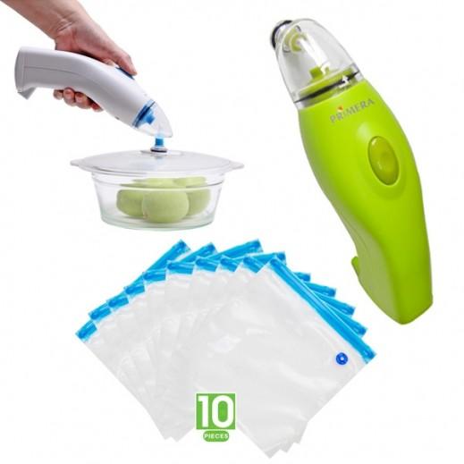 Primera Handy Food Vacuum Sealer + Primera Universal Vacuum Lid for Handy Food Vacuum Sealer + Set of 10 Bags