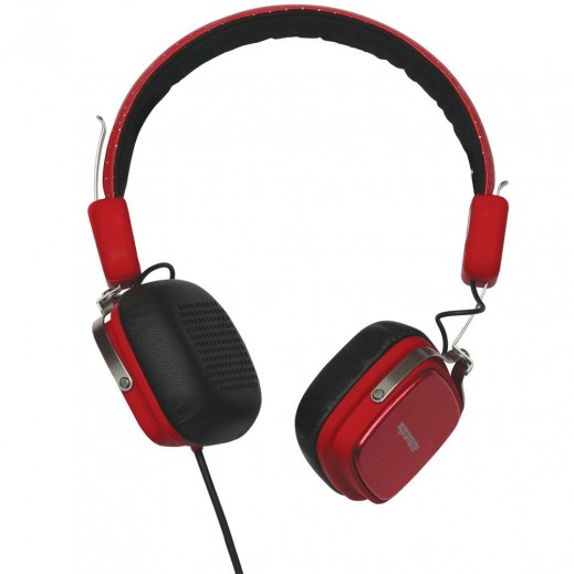 Promate Urban Premium Leather On-the-Ear In-Line Headphones Red