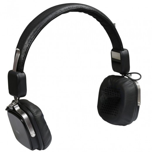 Promate Urban Premium Leather On-the-Ear In-Line Headphones Black