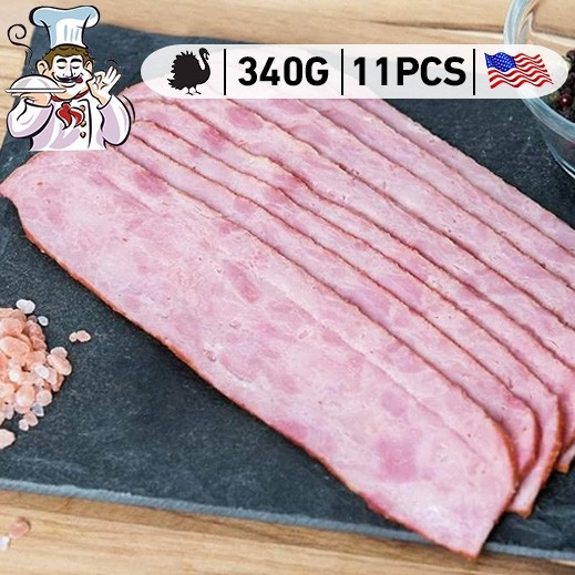 Chefs Choice US Frozen Turkey Bacon Strips (11 Strips Approx) 340 g