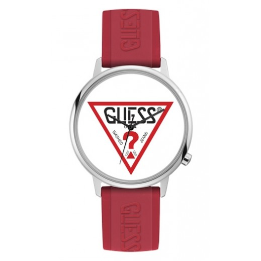 Guess Hollywood Red Logo Silicone Strap Unisex Watch - delivered by Beidoun after 4 Working Days