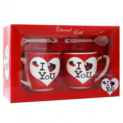 I Love You 2 Mugs With 2 Spoons