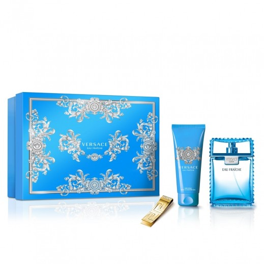 Versace Eau Fraiche Gift Set For Him EDT 100 ml + Bath & Shower Gel 100 ml + Money Clip