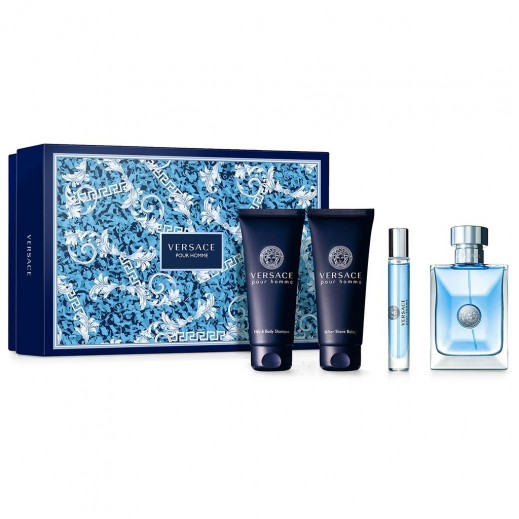 Versace Pour Homme Gift Set For Him EDT 100 ml + EDT 10 ml + After Shave Balm 100 ml + Hair & Body Shampoo 100 ml