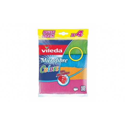 Vileda Microfibre All Purpose Cleaning Cloths - 4 Pieces