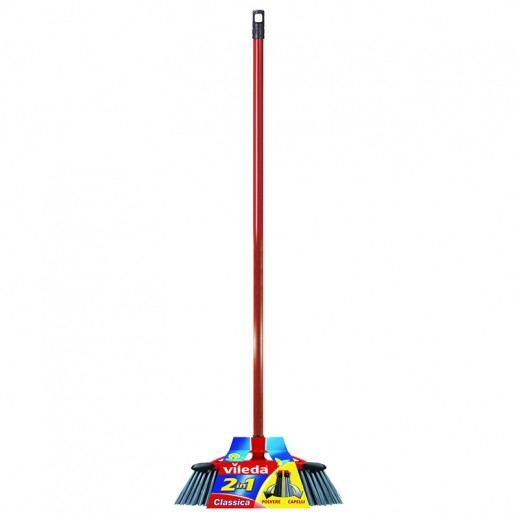 Vileda 2 in 1 Universal Broom + Red Stick