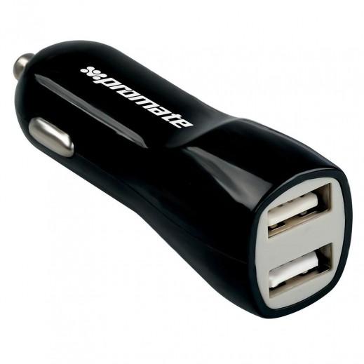 Promate 3,100 mAh Dual USB Universal Car Charger - Black