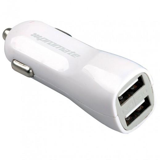 Promate 3,100 mAh Dual USB Universal Car Charger - White