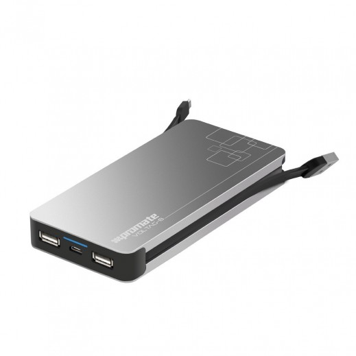 Promate Power Bank Premium Metallic 8400mAh with Built-in Micro-USB Cable & 2USB
