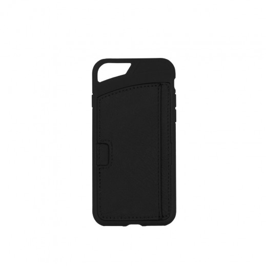 Promate iPhone 7 Leather Wallet Case with Card Storage - Black