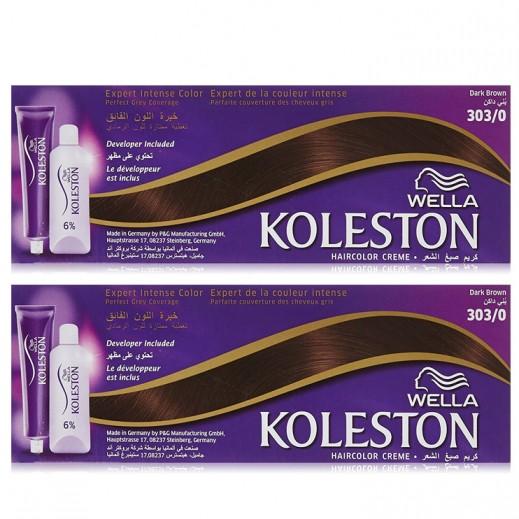 Koleston Dual Pack Hair Colour Crème Dark Brown 303/0 (25% off) Prom