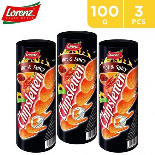 Lorenz Chipsletten Hot & Spicy Chips 3 x 100 g