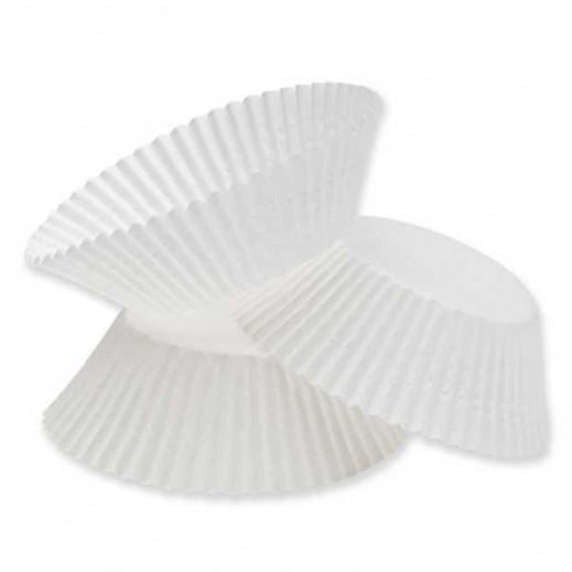 Falcon Crown Cup Cake Paper Cases ( L) -White - (100 pieces)