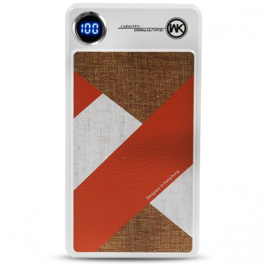 WK Design Power Bank 20,000 mAh – White & Brown
