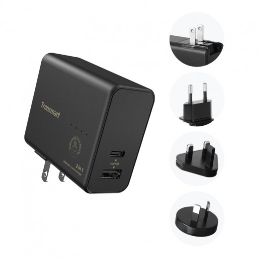 Tronsmart 2 in 1 Dual USB Travel Charger Power Bank 5000mAh - Black