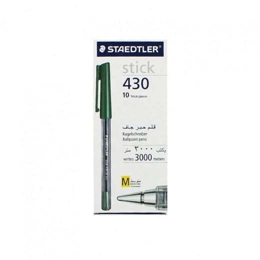 Vlaue Pack - Staedtler Stick 430 Ballpoint Pen 10 pieces - Green (3 pieces)