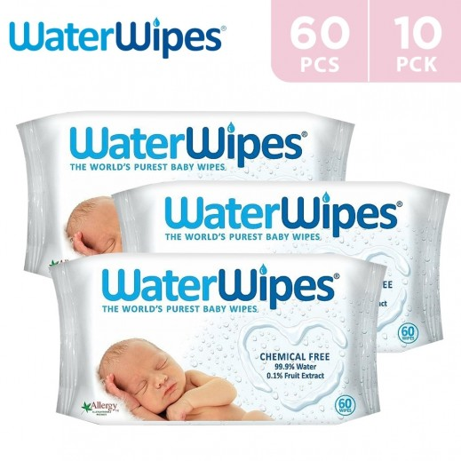 WaterWipes Sensitive Baby Wet Wipes Natural & Chemical Free 10 x 60 pcs