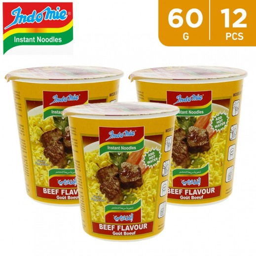 Wholesale - Indomie Instant Noodles Beef Cup 60 g (12 pieces)