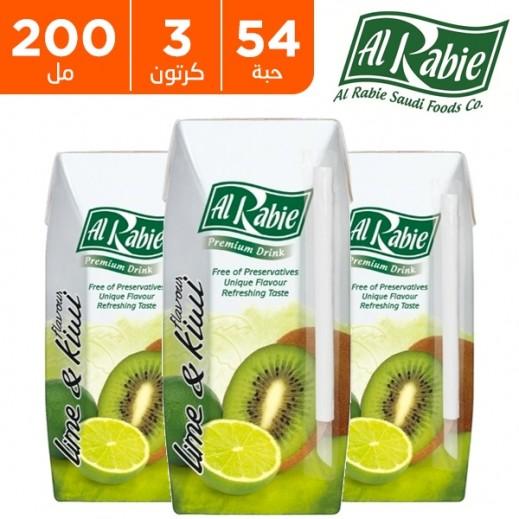 Wholesale - Al Rabie Kiwi & Lime Juice 200 ml (3 x 18 Pieces)