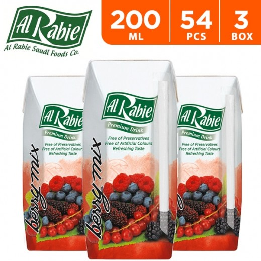 Wholesale - Al Rabie Berry Mix Juice 200 ml (3 x 18 Pieces)