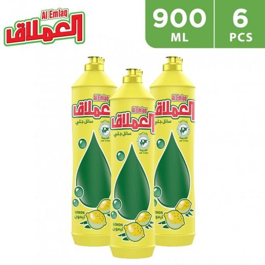 Al-Emlaq Dish Wash Liquid Lemon 900 ml - 6 Pieces