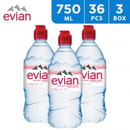 Evian Natural Mineral Water Sport Cap Bottle 36x750 ml