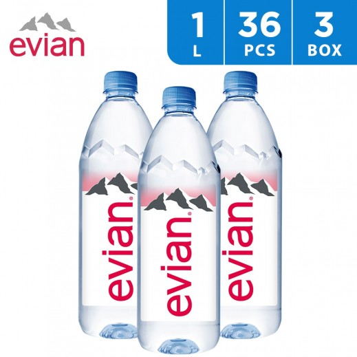 Evian Natural Mineral Water Bottle 36x1 L