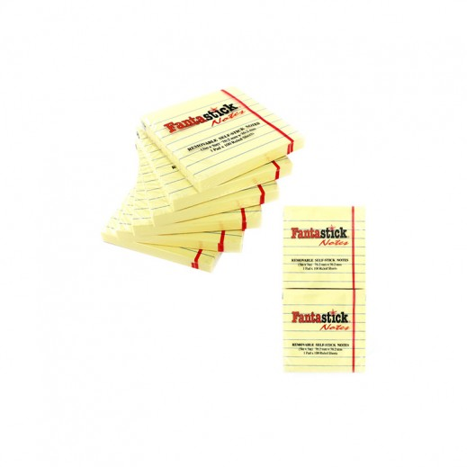 Value Pack - Fantastick 76x127mm Removable Self Stick Notes 12x100 sheets (6 pieces)