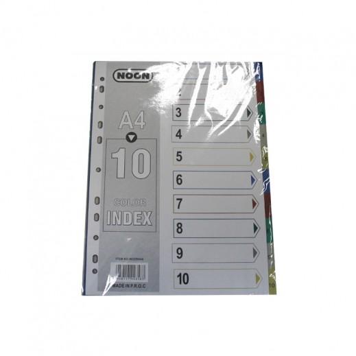 Wholesale - Noon 10 Color A4 Index Divider 10 sheets (50 pieces)