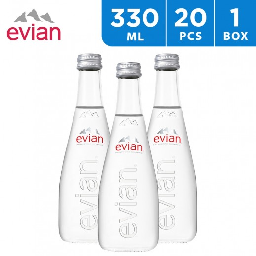 Evian Natural Mineral Water Glass Bottle 20 x 330 ml