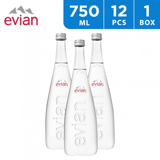 Evian Natural Mineral Water Glass Bottle 12 x 750 ml