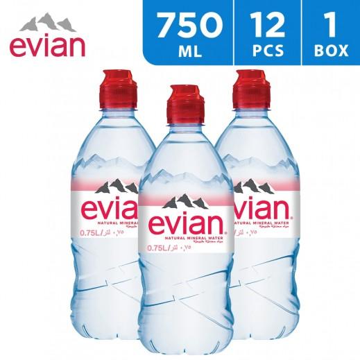 Evian Natural Mineral Water Sport Cap Bottle 12x750 ml
