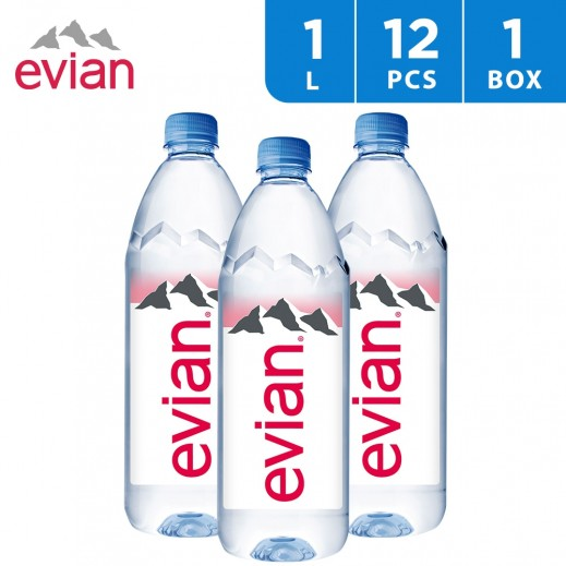Evian Natural Mineral Water Bottle 12x1 L