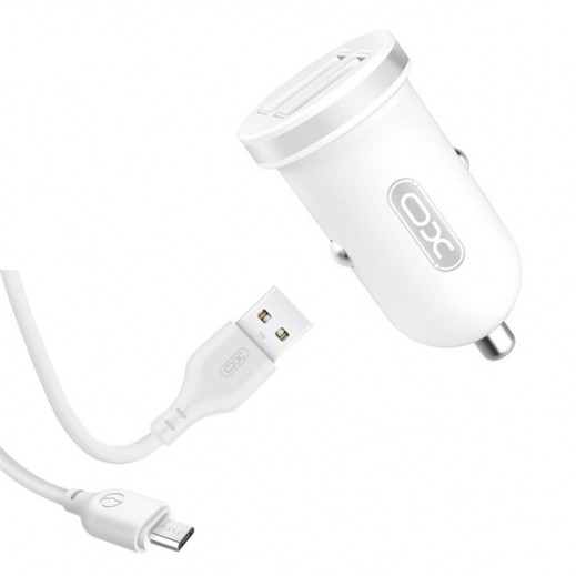 XO Car Charger with Micro Cable - White
