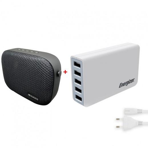 Eugizmo Portable Wireless Stereo Speaker + Energizer 5 USB Charging Station 8A