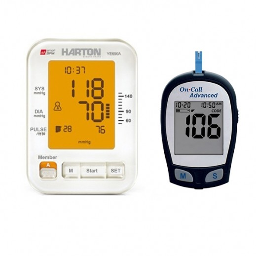 Harton Upper Arm Blood Pressure Monitior YE690A + On Call Advanced Glucometer