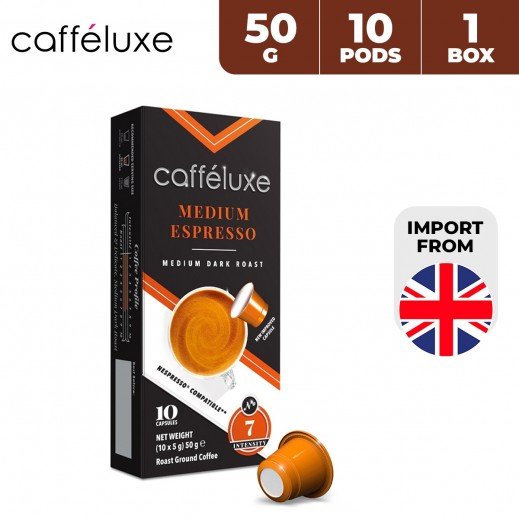 Caffeluxe Espresso Medium Dark Roast Ground Coffee 10 Capsules 50 g