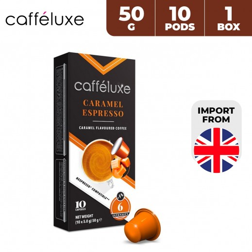 Caffeluxe Espresso Caramel Flavored Coffee 10 Capsules 50 g