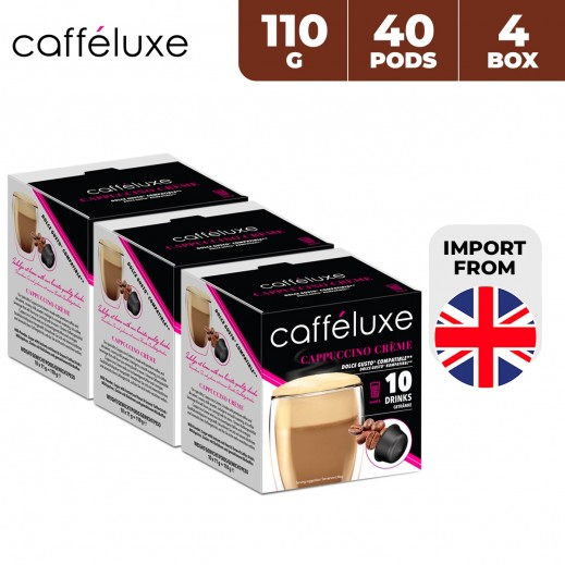 Caffeluxe Dolce Gusto Cappuccino Creme Coffee 40 Capsules 4 x 110 g