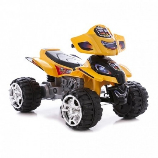 Kids Rechargeable Ride On 4 wheel Bike - Yellow - delivered by Click Toys