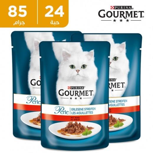 بورينا - طعام القطط (جورميه بيرل) مع شرائح اللحم 24 × 85 جم