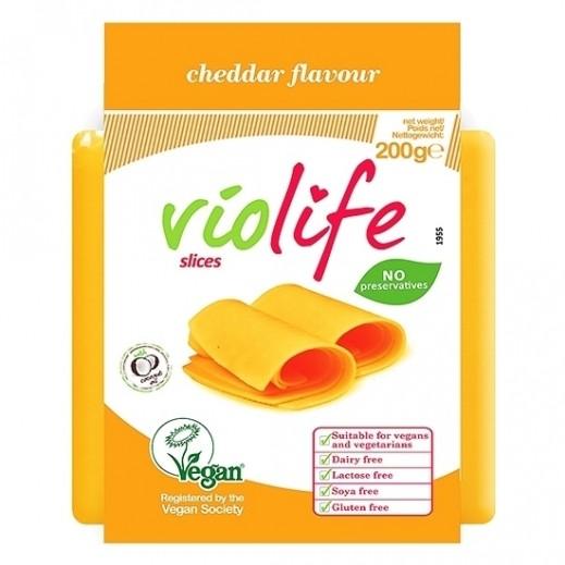 فيولايف - شرائح جبنة نباتية بنكهة الشيدر خالية من الجلوتين 200 جم