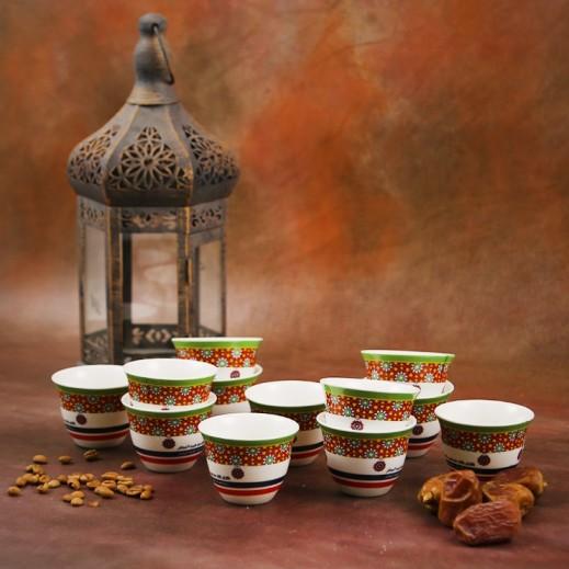 طقم فناجين قهوة من البورسلان 12 قطعة - تصميم الورود