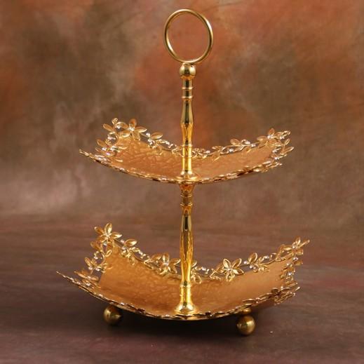 صينية تقديم الحلويات 2 طبقة مطلية بالذهب - حجم صغير