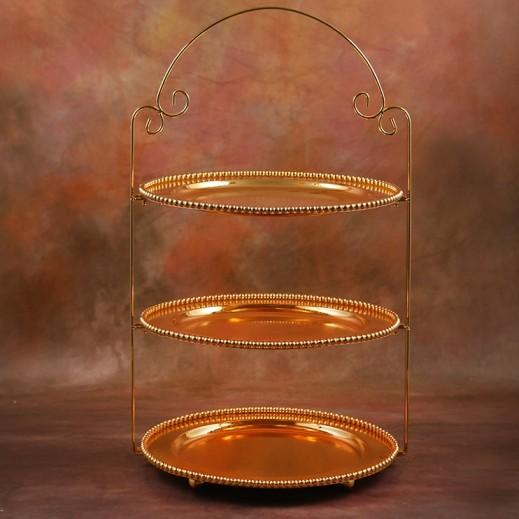صينية تقديم الحلويات 3 طبقة مطلية بالذهب - حجم وسط