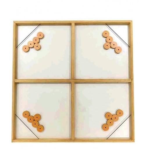 لعبة الشقردي الخشبية 4 لاعبين - 70 × 70 سم (ألوان متعددة)