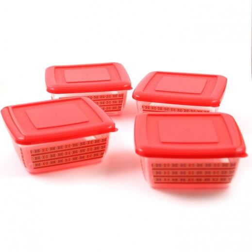 طقم أوعية مربع بلاستيك لحفظ الطعام - 4 قطعة