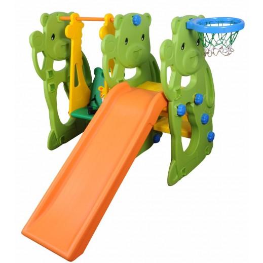 زحلاقية 3 × 1 بتصميم دب مع أرجوحة بتصميم زرافة وطوق لكرة السلة - يتم التوصيل بواسطة Moawad International Co.